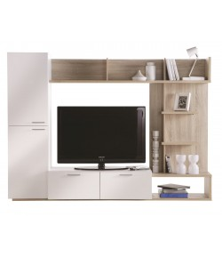 Living Tv Chene Clair Et Blanc Tidy Home