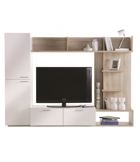 Living tv ch ne clair et blanc tidy home for Living meuble