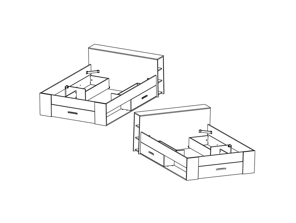Lit adulte 140 rangement tiroir blanc ch ne clair moderne - Lit avec rangement 140 x 190 ...