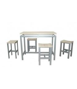 "Table haute ""MADY"" + 4 tabourets"