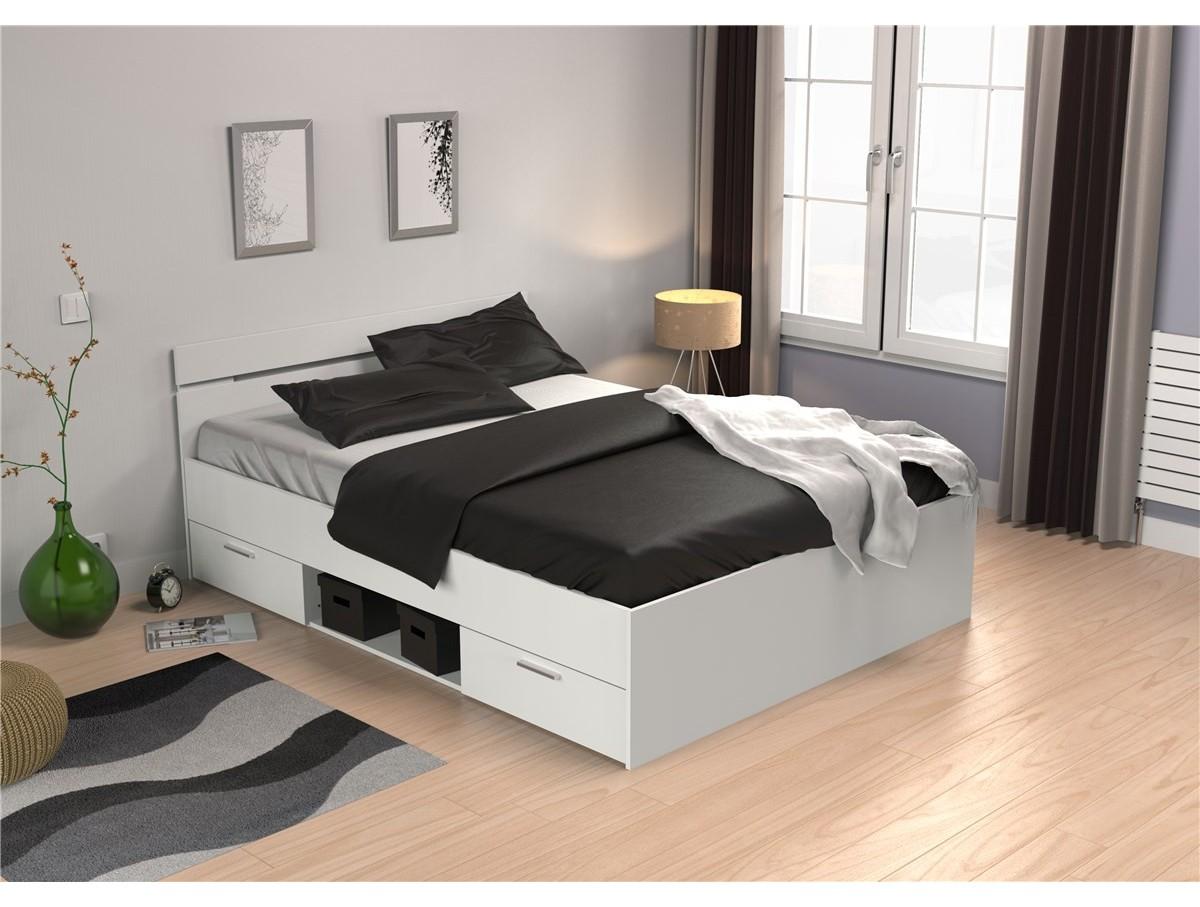 lit m gane blanc avec tiroirs tidy home. Black Bedroom Furniture Sets. Home Design Ideas