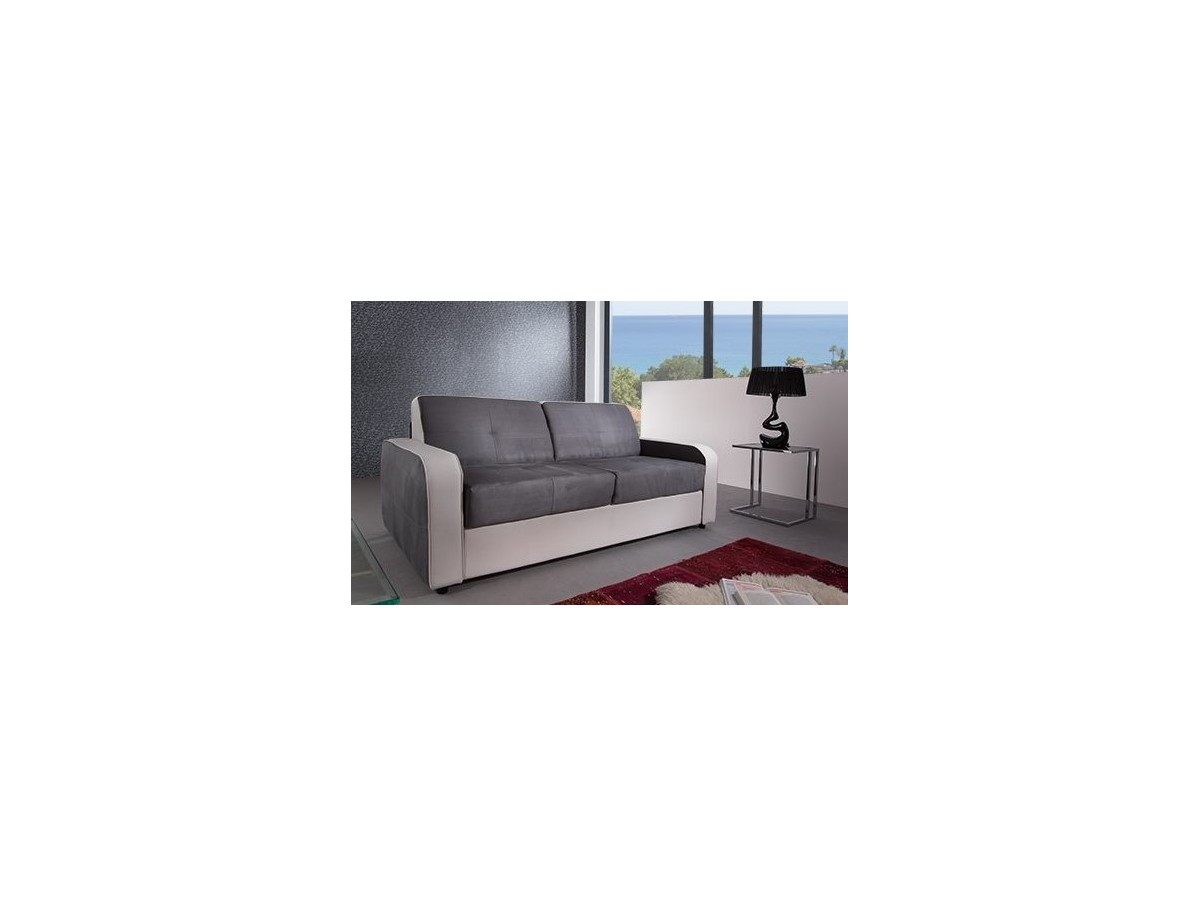 Canap m lanie convertible blanc gris tidy home for Canape convertible gris