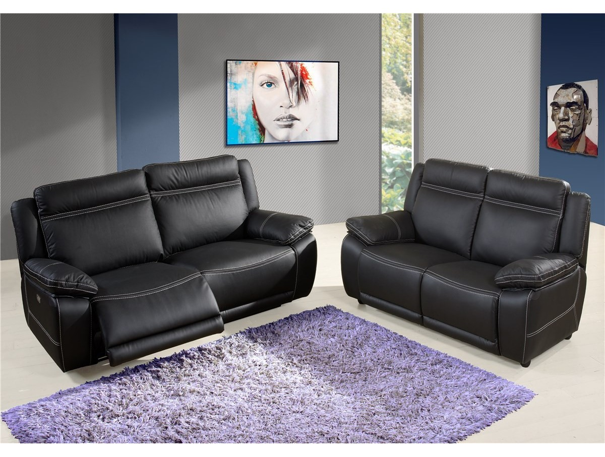 Canap ang lique relax lectrique cuir tidy home - Canape relax cuir but ...