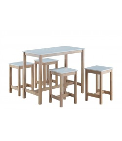 TABLE HAUTE + 4 TABOURETS MAUDE