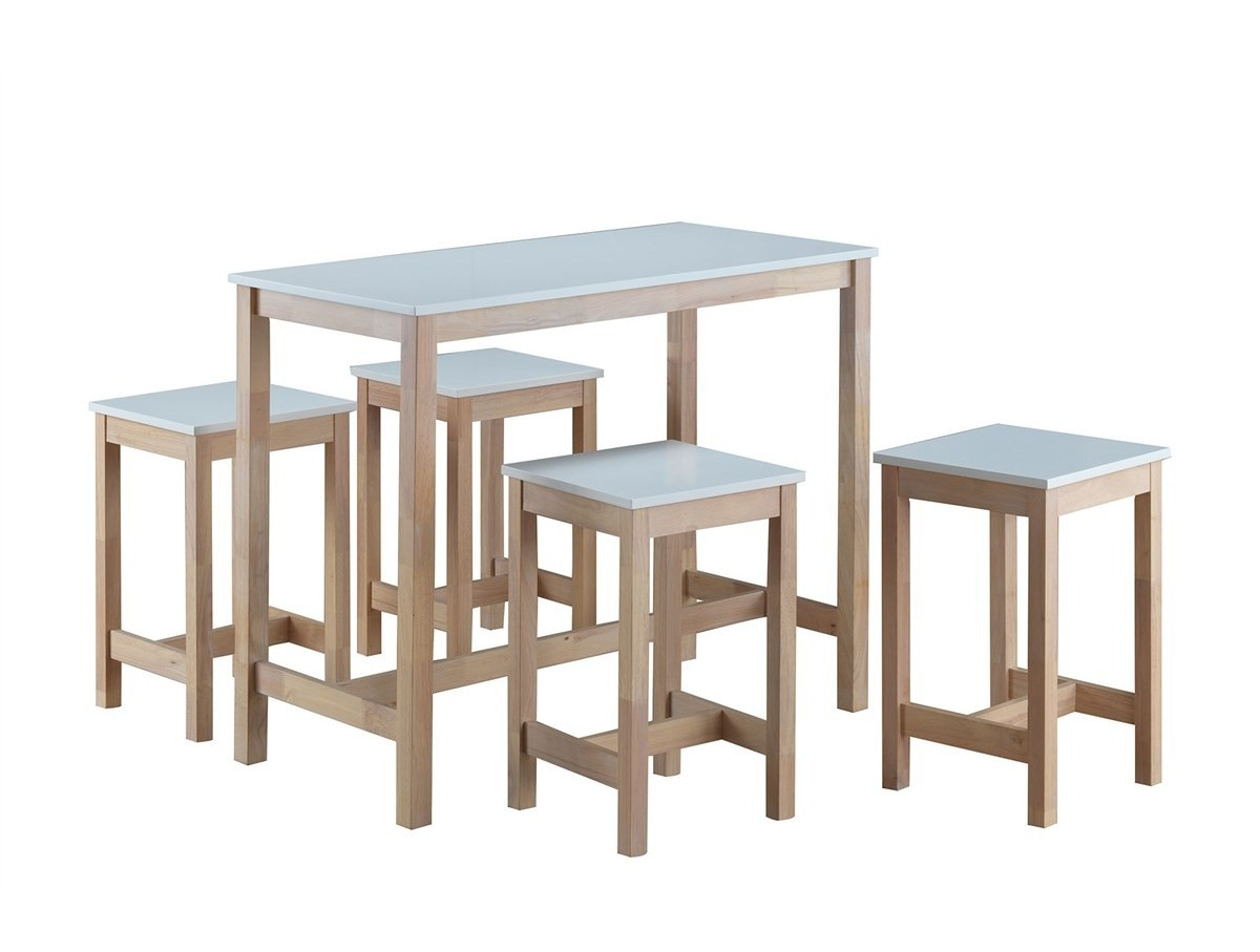 Table haute 4 tabourets maude tidy home for Panier de bar ikea bygel
