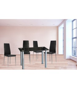 "Table carrée + 4 chaises Noir""ADELINE"""