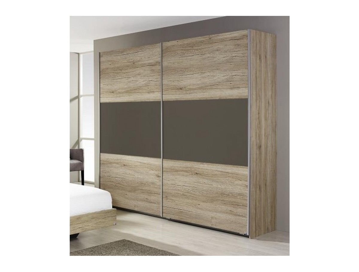 Armoire 2 portes coulissantes bambou tidy home - Portes coulissantes armoire ...