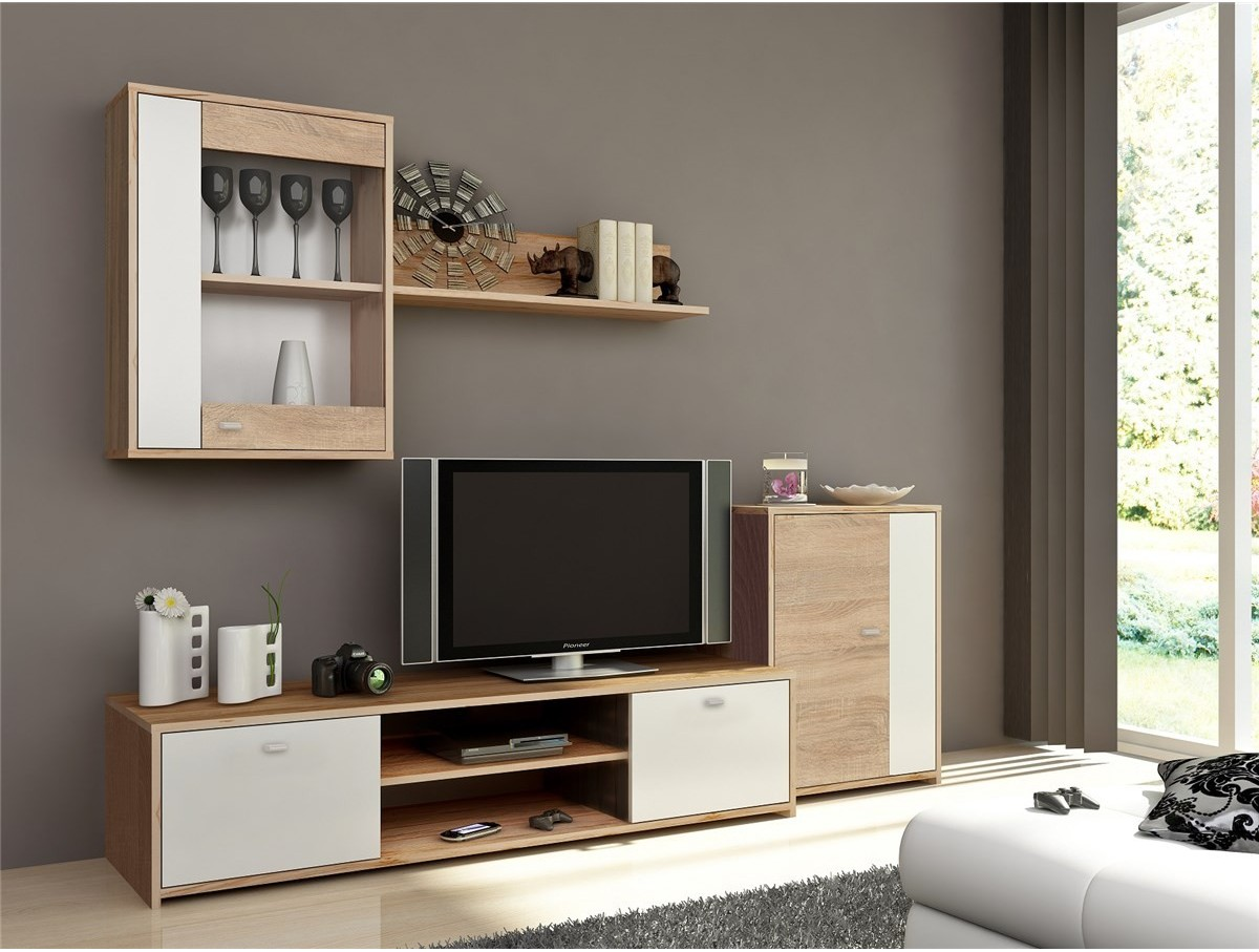 mur tv complet phil tidy home. Black Bedroom Furniture Sets. Home Design Ideas