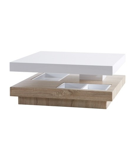 Table basse dessus pivotant 80x80cm turin tidy home for Table basse pivotant