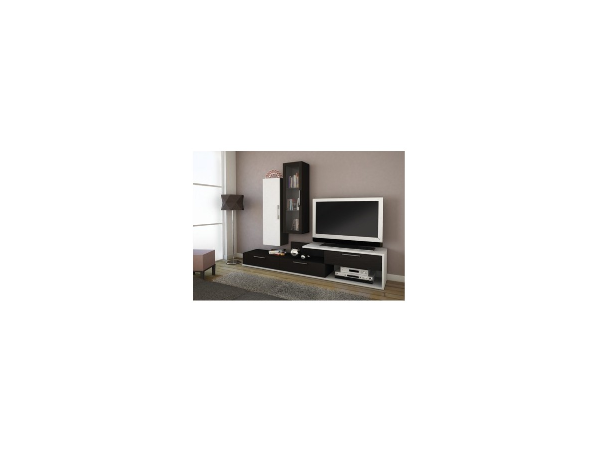 Living Tv Mios Noir Blanc Tidy Home # Abattant Meuble Tv