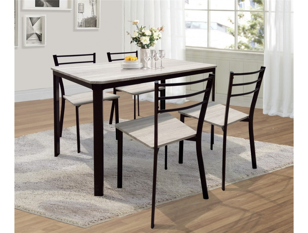 ensemble table 4 chaises lydie tidy home. Black Bedroom Furniture Sets. Home Design Ideas