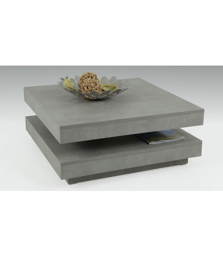 Table basse moderne carr e pivotante b ton - Table salon moderne ...