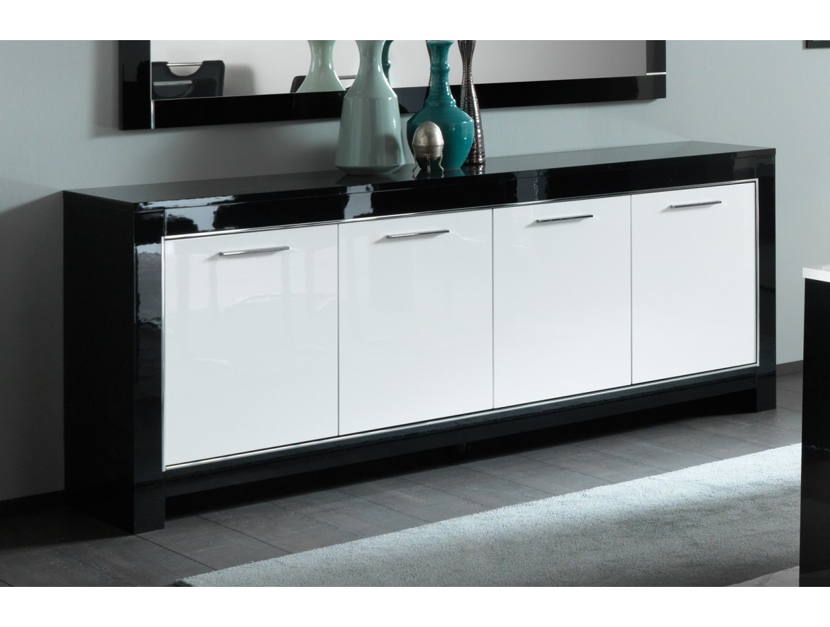 Buffet mira noir et blanc laqu tidy home - Table sejour blanc laque ...