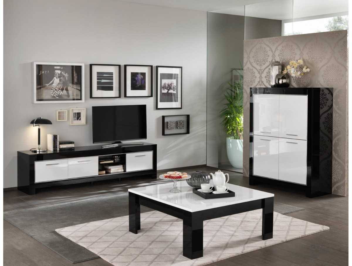 buffet mira noir et blanc laqu tidy home. Black Bedroom Furniture Sets. Home Design Ideas