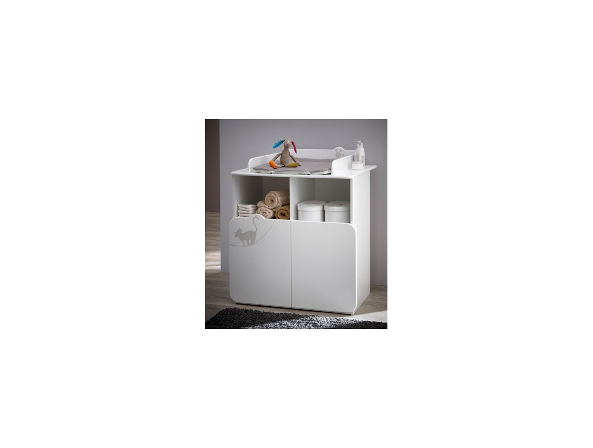 Commode table a langer 70x55cm 2 portes 2 niches katia for Commode kitty