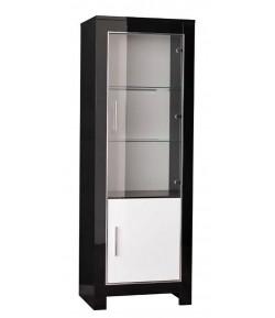 vitrine 1 porte Mira noir et blanc laqué