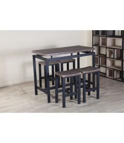 """Table haute + 4 tabourets """"MADONNE"""" noire"""
