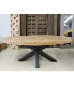 Table ovale massive pied central