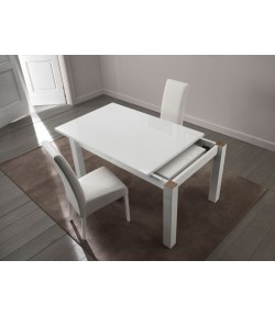 Table laquée blanche extensible
