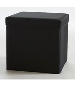Pouf carré avec coffre de rangement Noir