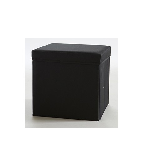 pouf carr avec coffre de rangement noir tidy home. Black Bedroom Furniture Sets. Home Design Ideas