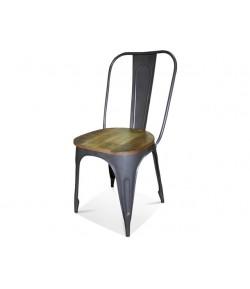Chaise indus métal et bois