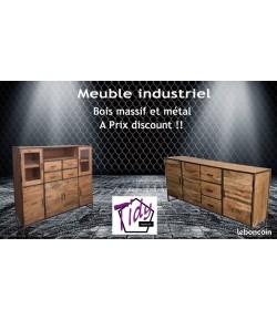 Meuble industriel bois massif et métal