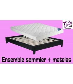 Pack sommier cuir 140x200 + Matelas 140x190