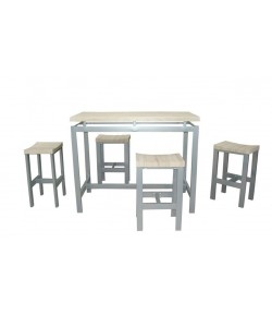"Table haute ""MADY"" + 4 tabourets"