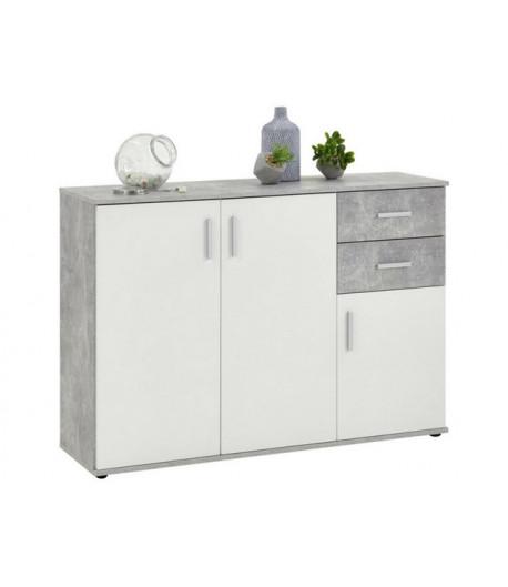 Rangement 3 portes 2 tiroirs blanc beton Alban 2